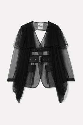 Noir Kei Ninomiya Open-back Belted Tulle Jacket - Black