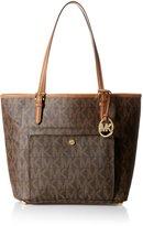 Michael Kors Brown PVC Logo Jet Set Front Pocket Tote Handbag Purse $