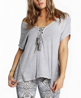 Anama Gray Lace-Accent V-Neck Top