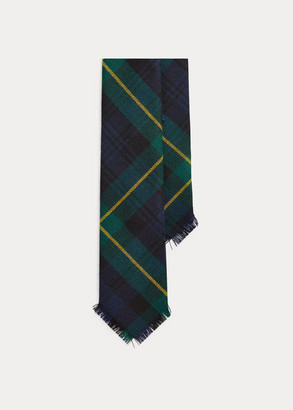 Ralph Lauren Fringed Tartan Wool Narrow Tie