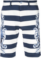 Dolce & Gabbana striped embroidered shorts - men - Cotton/Spandex/Elastane - 46