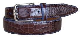 Lejon Men's Anzio Italian Calfskin Embossed Alligator Print Leather Dress Belt