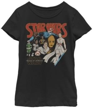 Star Wars Big Girls Rise of Skywalker Retro Cartoon Short Sleeve T-Shirt