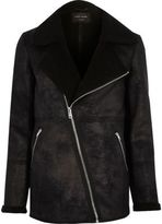 River Island Black Shearling Coat