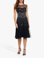 Phase Eight Lena Sequinned Dress, Navy/Silver