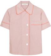 Araks Shelby Silk Chiffon-trimmed Cotton-poplin Pajama Top - Coral