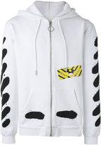 Off-White printed zip up hoodie