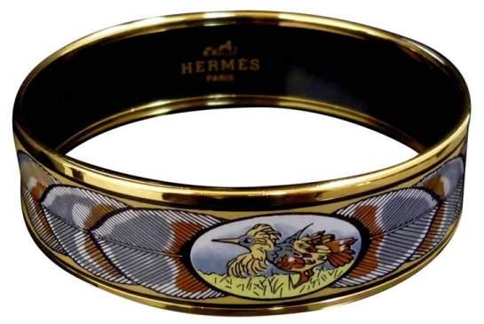 Hermes Gold Tone Metal & Cloisonne Enamel Gold Yellow Bird Bangle Bracelet