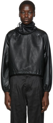 Markoo Black Vegan Leather Big Neck Turtleneck