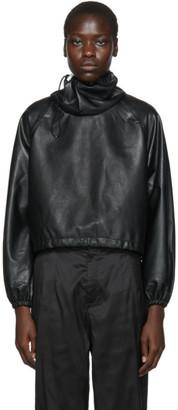 Markoo Black Vegan Leather Big Neck Turtleneck