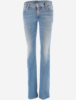 DSQUARED2 Light & Clean Wash Medium Waist Flare Jeans
