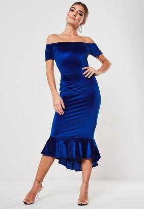 Missguided Blue Velvet Bardot Fishtail Midi Dress