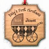 Babys First Ornament Christmas 2014 2015 Personalized New Baby Gift Idea Ornament Keepsake for New Family Holiday Wood Stroller Ornaments Engraved Custom Christmas Personalized