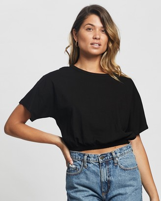 Atmos & Here Atmos&Here - Women's Black Basic T-Shirts - Suri Elastic Waist Tee - Size 6 at The Iconic