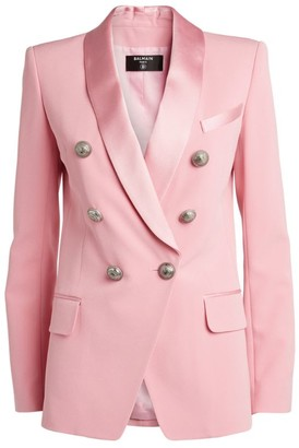Balmain Satin Lapel Double-Breasted Blazer