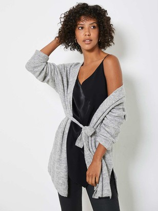 Mint Velvet Split Seam Belted Cardigan - Silver