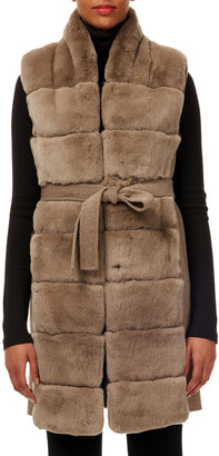 Gorski Belted Reversible Rabbit Fur Vest w/ Wool Back