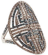 Rarities Sterling Silver Blue Champagne Diamond Cocktail Ring Size 8 New $1410