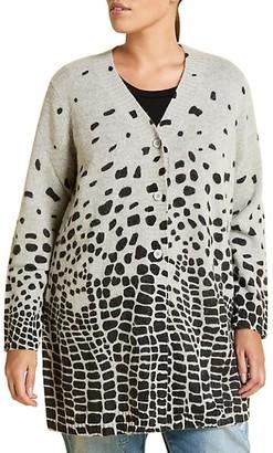 Marina Rinaldi, Plus Size Marina Sport Maestria Leopard Wool & Alpaca-Blend Cardigan
