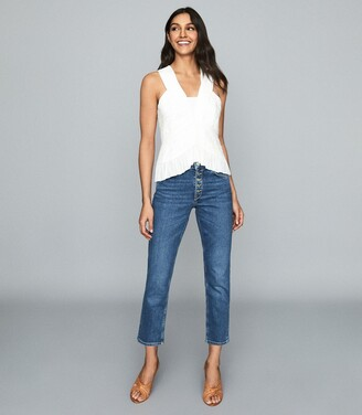 Reiss Riley - Ruched Sleeveless Top in White