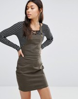Boohoo Twill Pinafore Dress