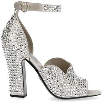 Prada Embellished Ankle Strap Heel Sandals