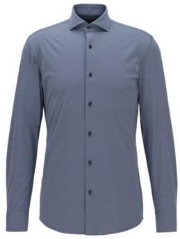 HUGO BOSS Slim Fit Shirt In Performance Stretch Structured Fabric - Dark Blue