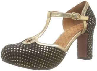 Chie Mihara Women's Ibis Ankle Strap Heels Black (Lula Negro Napa Metal Gold Negro) 7 UK