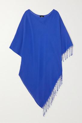 SU PARIS Syama Fringed Striped Cotton-gauze Poncho - Royal blue