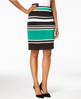 Nine West Striped Scuba Pencil Skirt