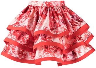 Elisabetta Franchi Floral-Print Layered Skirt