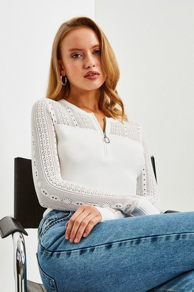 Karen Millen Zip Neck Pointelle Stitch Jumper