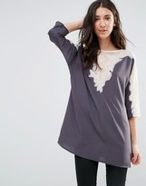 French Connection Isla Lace 3/4 Sleeve Tunic Top