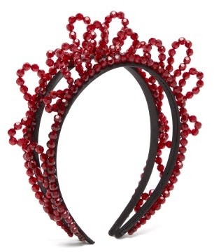 Simone Rocha Double Wiggle Crystal-embellished Headband - Burgundy