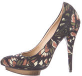 McQ by Alexander McQueen Butterfly Printed Canvas Pumps
