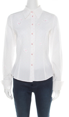 Escada White and Pink Cotton Dotted Floral Applique Long Sleeve Shirt M