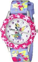 Disney Kids' W000410 Tween Glitz Tinker Bell Stainless Steel Pink Bezel Printed Strap Watch