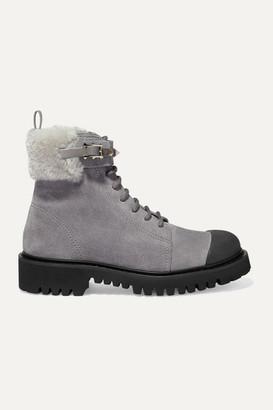 Valentino Garavani Rockstud 35 Shearling-trimmed Suede Ankle Boots - Light gray