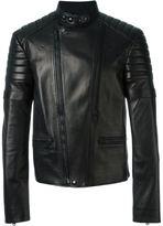 Alexander McQueen band collar biker jacket - men - Cotton/Lamb Skin/Polyurethane/Wool - 48