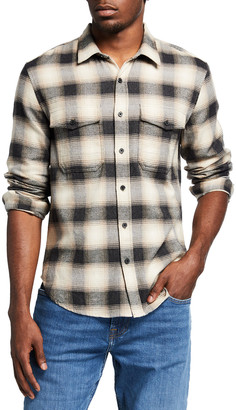 7 For All Mankind Men's Plaid Double-Pocket Sport Shirt