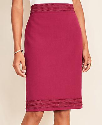 Ann Taylor Doubleweave Lace Trim Pencil Skirt