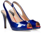Sergio Rossi Royal Blue Patent Leather Peep-Toe Slingbacks