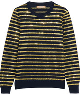 Michael Kors Striped Sequined Cashmere Sweater - Gold