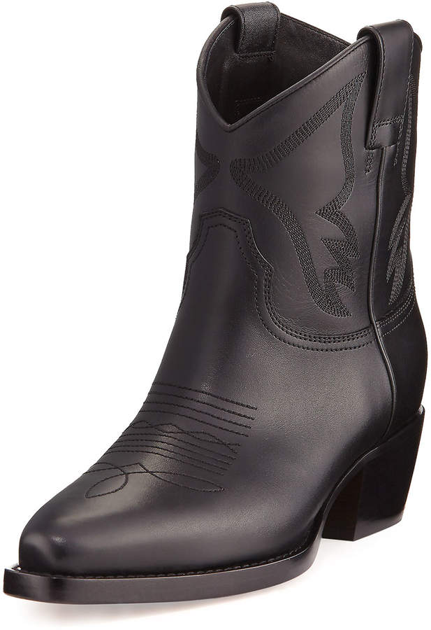 Valentino Leather Cowboy Boots, Black
