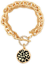 GUESS Gold-Tone Large Link Animal-Look Charm Toggle Bracelet
