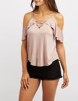 Charlotte Russe Lattice-Front Ruffle Cold Shoulder Top