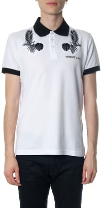 Versace Jeans Couture White Cotton Logo Shirt With Embroidered Logo