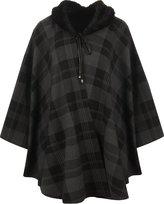 RM Fashions RM Women's Plus Faux Fur Trim Collar Check Tartan Poncho Sweaters 1 Size Fit