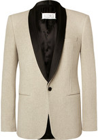 Maison Margiela - Ecru Slim-fit Satin-trimmed Cotton-tweed Tuxedo Jacket