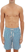 Solid & Striped MEN'S STRIPED SWIM TRUNKS-BLUE, WHITE, TURQUOISE SIZE M